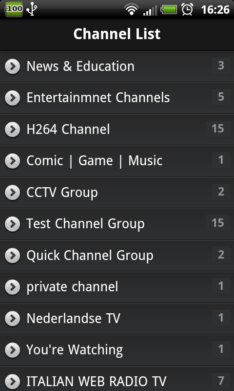 SopCast на Android, каналы