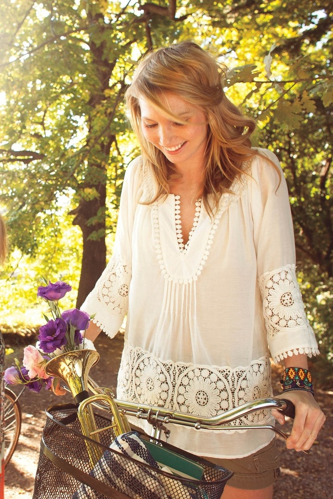 Cute half white blouse fashion trend