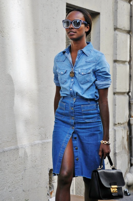 Front buttoned denim skirt with denim shirt Street style