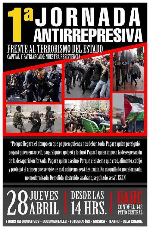 PROVIDENCIA: 1° JORNADA ANTIRREPRESIVA FRENTE AL TERRORISMO DE ESTADO