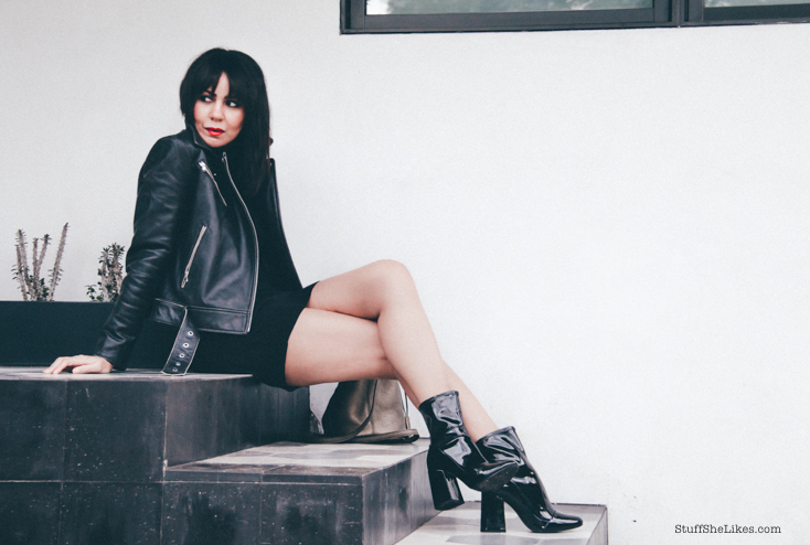 kenneth cole, leather jacket, black booties, fashion blogger, top fashion blogger, brunette, bangs, Los Angeles Fashion Blogger,