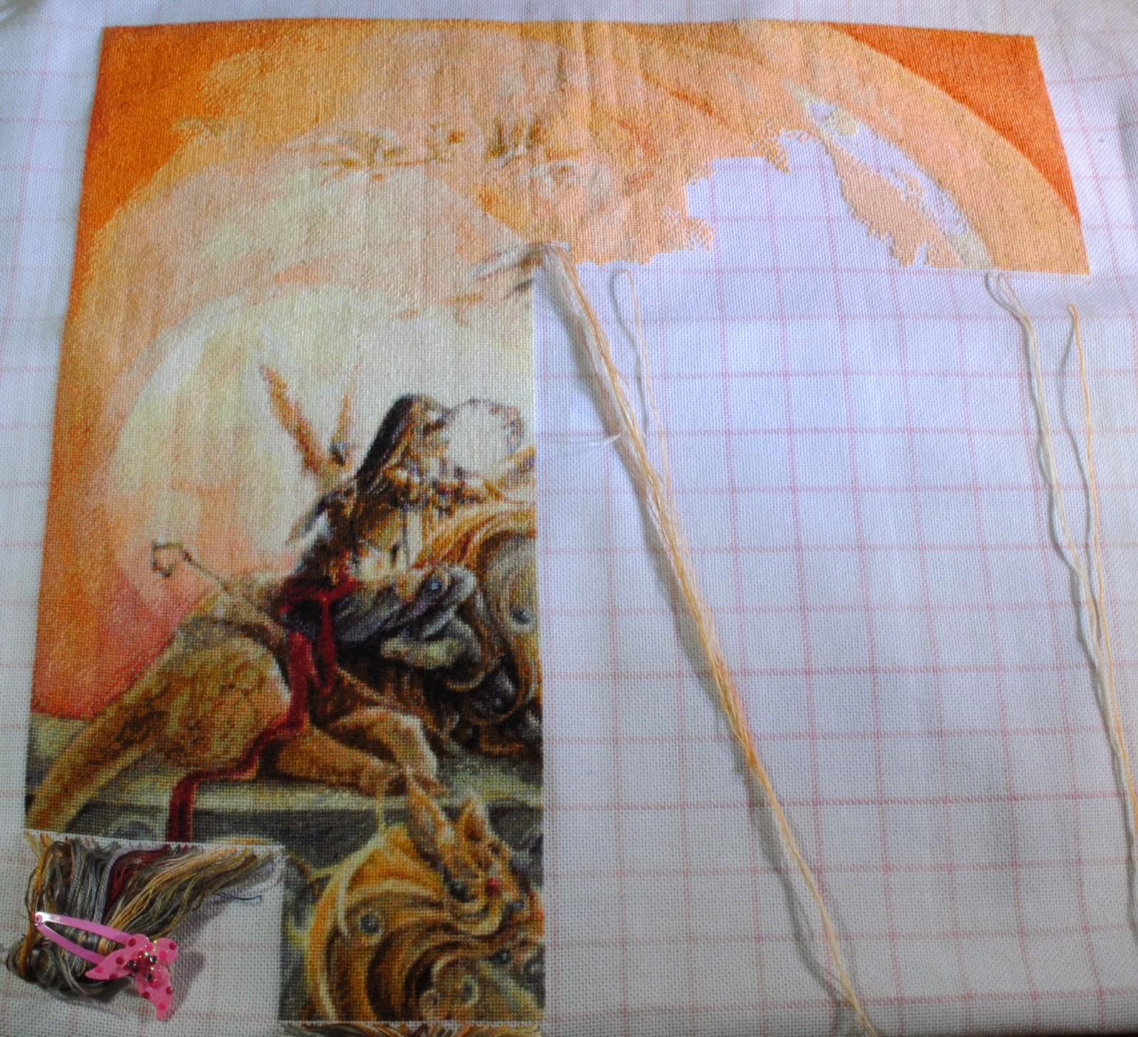 Heaven and Earth Cross Stitch in Progress. HAED Bridge of Wings by SPML Cross Stitch WIP
