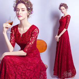 New 2016 Transparent Half Sleeve Sequin Flare Long Red Lace Evening Dress