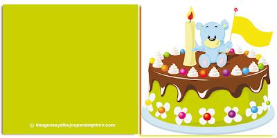 Felicitaciones con tartas de cumpleaños para imprimir