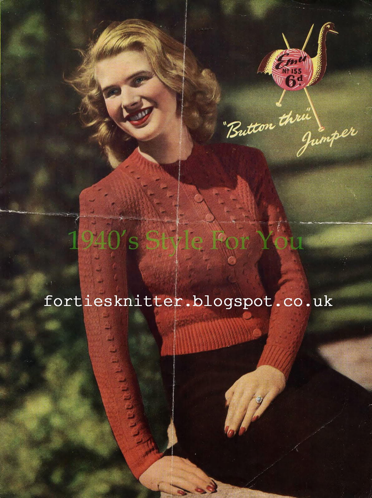 free knitting pattern 1940's Knitting - Lady's Button Through Jumper