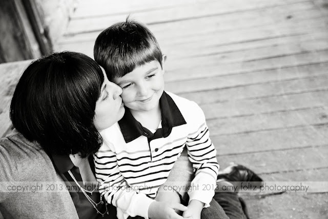 black and white photo of mom and son - Terre Haute photographer