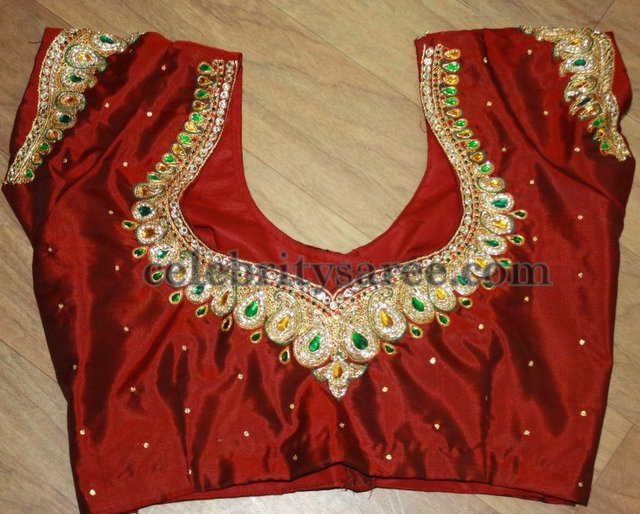 Hand Embroidery Designs For Blouse Back Neck  Hot Black