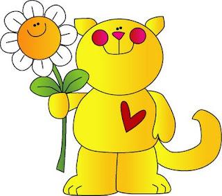 Desenho de gato e flor colorido