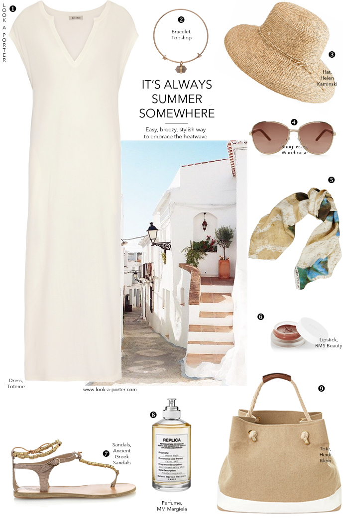 A stylish idea of wearing a maxi dress on holiday and in summer... via look-a-porter.com