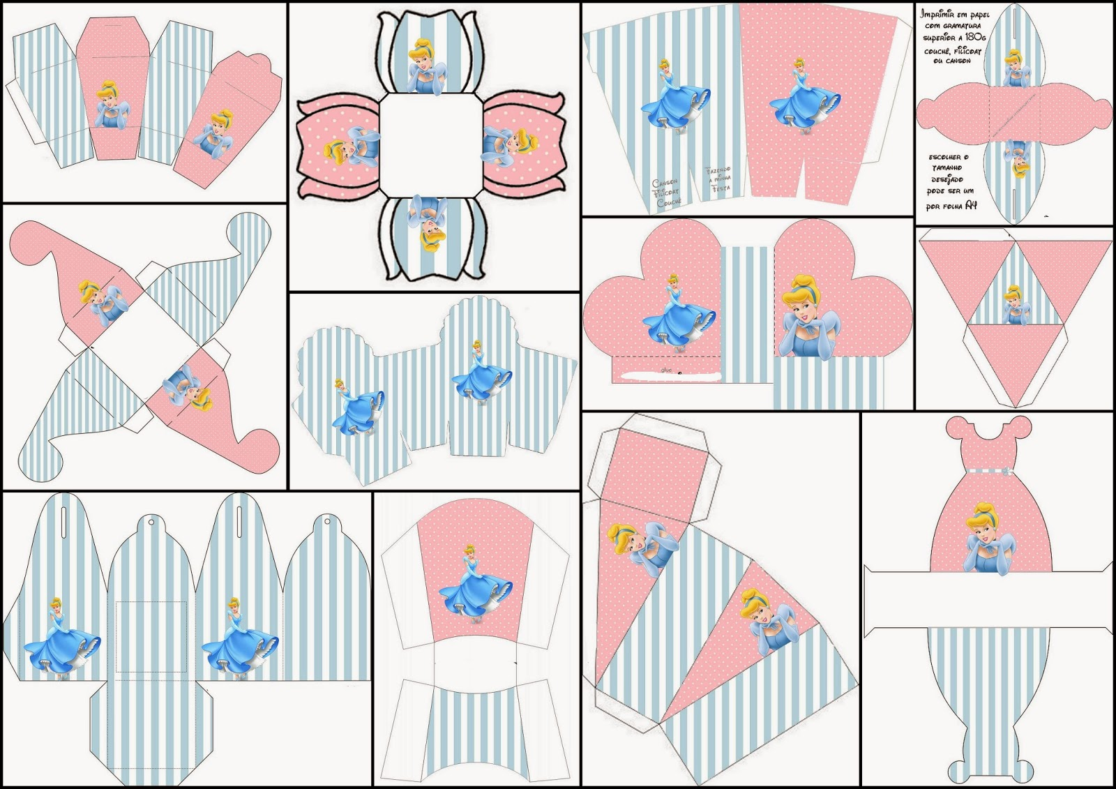 Cinderella in Pink and Light Blue: Free Printable Boxes.