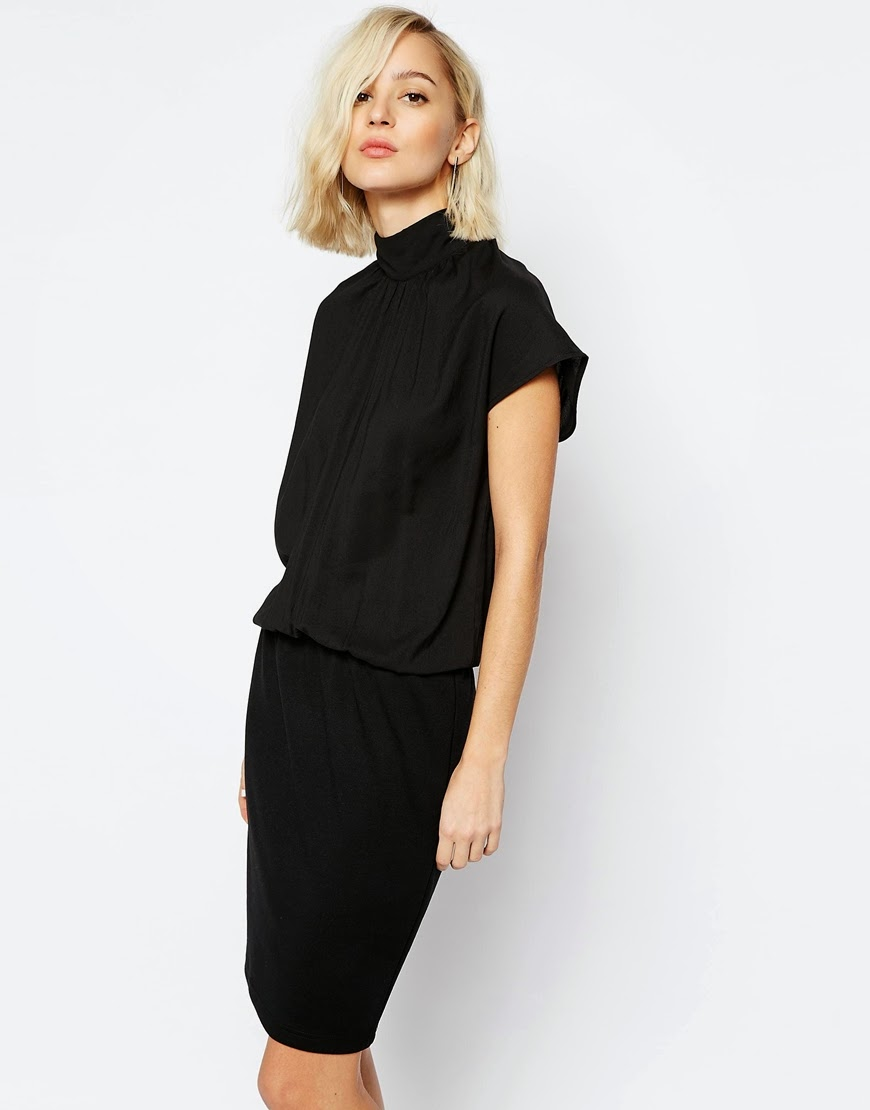 gestuz black dress with high neck, high neck black dress,