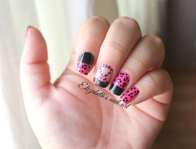 diseño de uñas leopardo rosa con lazito cancer de mama