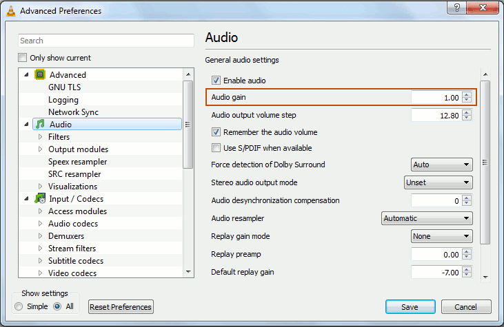 vlc all preferences