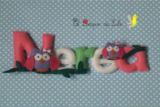 nombre-fieltro-decoración-infantil-búhos