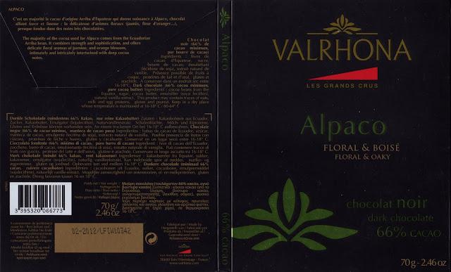 tablette de chocolat noir dégustation valrhona les grands crus alpaco 66