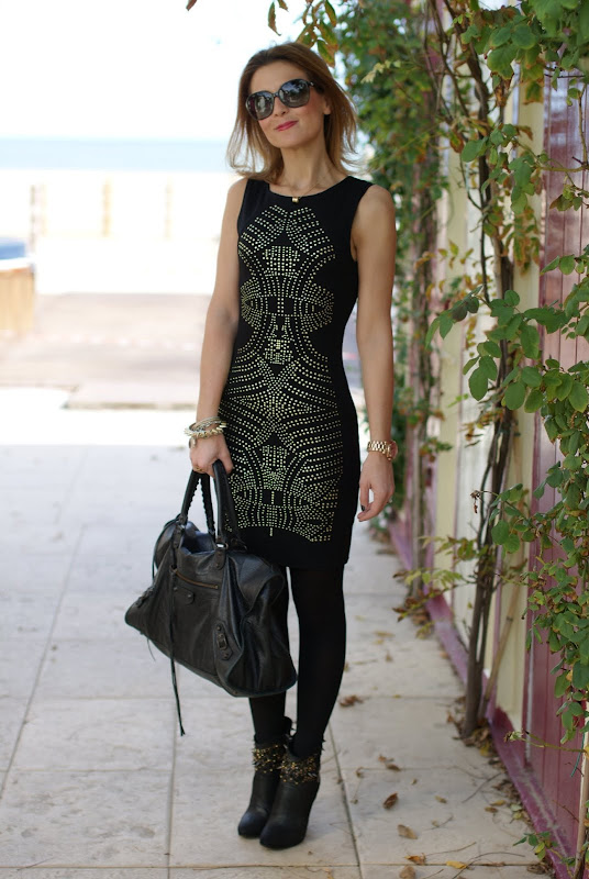 studded dress, studded ankle boots