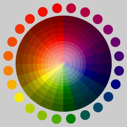 lingkaran warna tint shade warna primer kuning biru merah warna