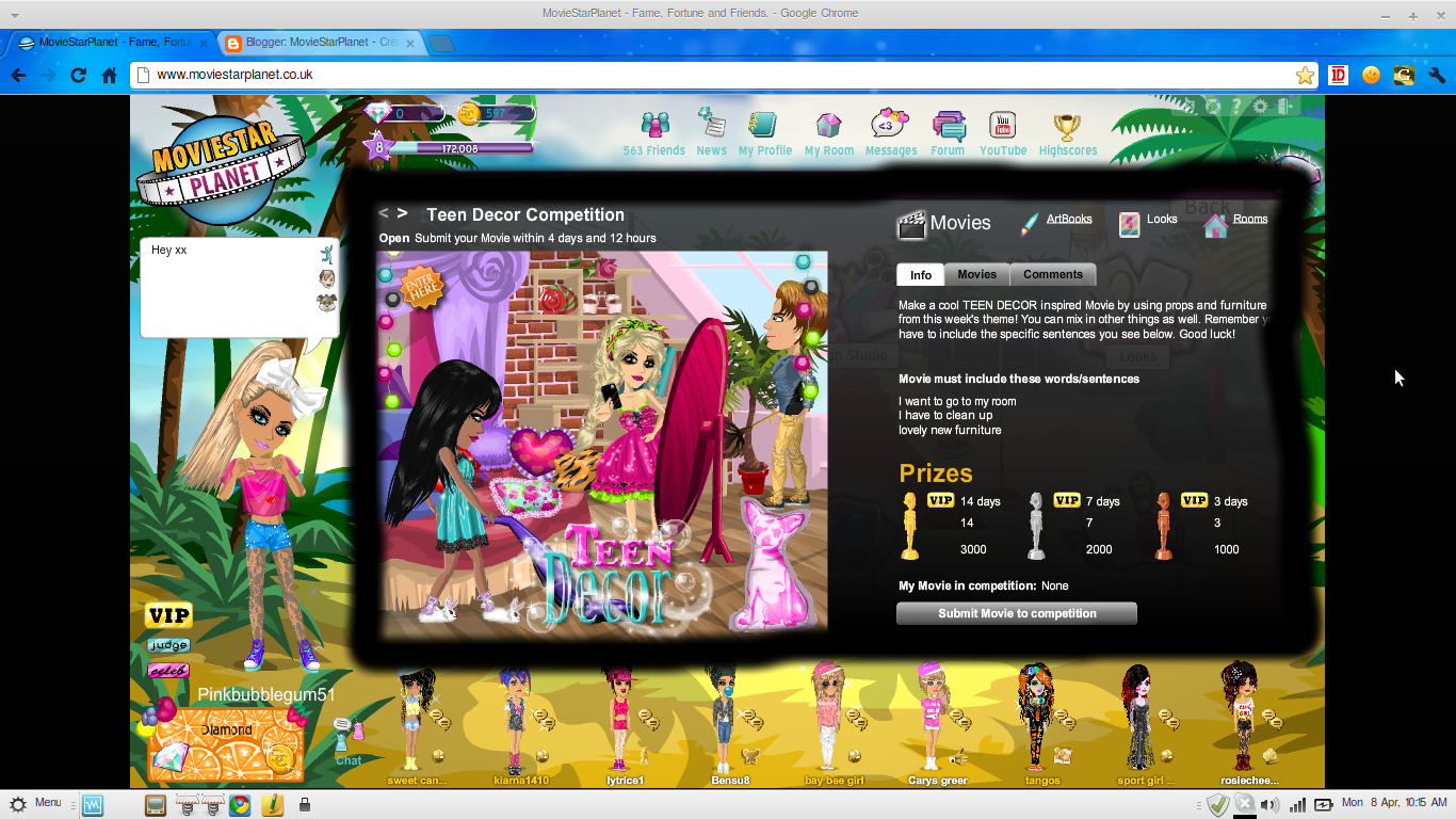 Teen decor this week s competition on moviestarplanet