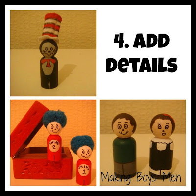 Cat in the hat peg dolls