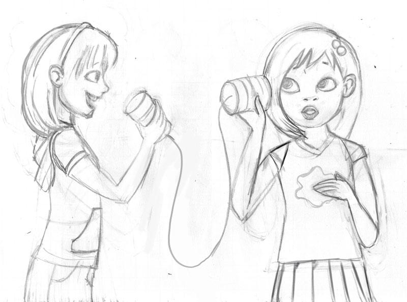 Tin Can Telephone Drawing