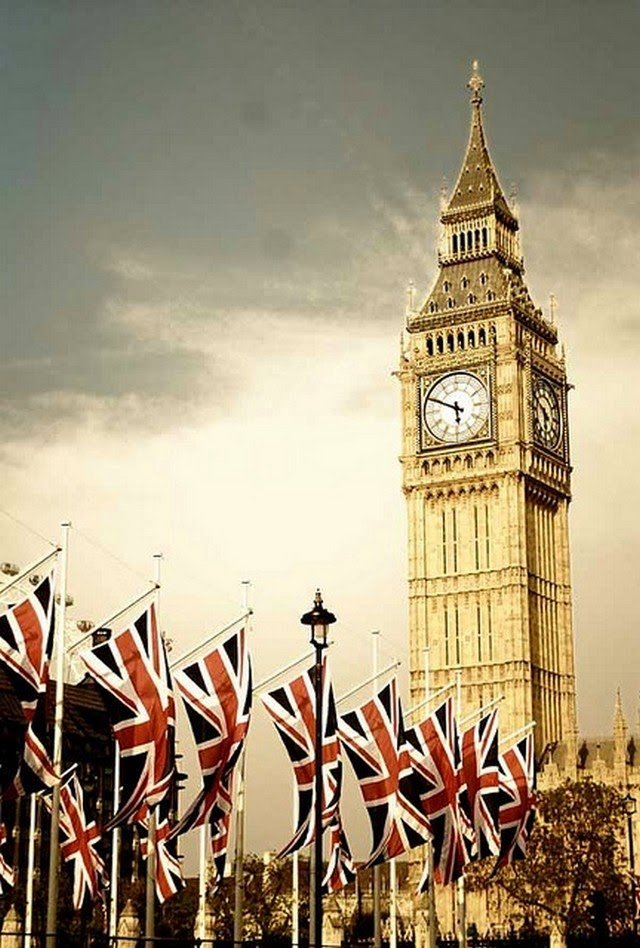 big ben with british flags