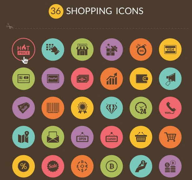 Free Shopping Icons (AI, EPS, PNG And PSD)