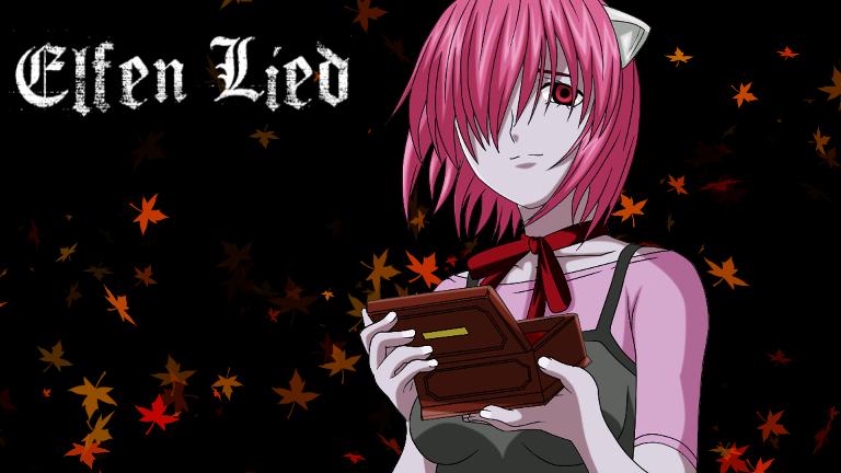 Lucy, del anime Elfen Lied, sosteniendo su caja musical, sobre un fondo oscuro donde vuelan hojas