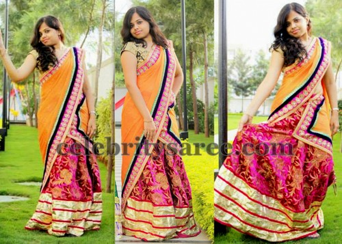 Benarasi Rose Work Half Saree