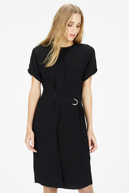 warehouse black belted dress,