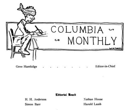 Harold Lamb edited Columbia Monthly