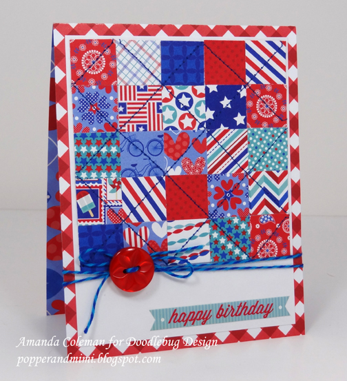 Red, white, and blue quilted card | popperandmimi.com