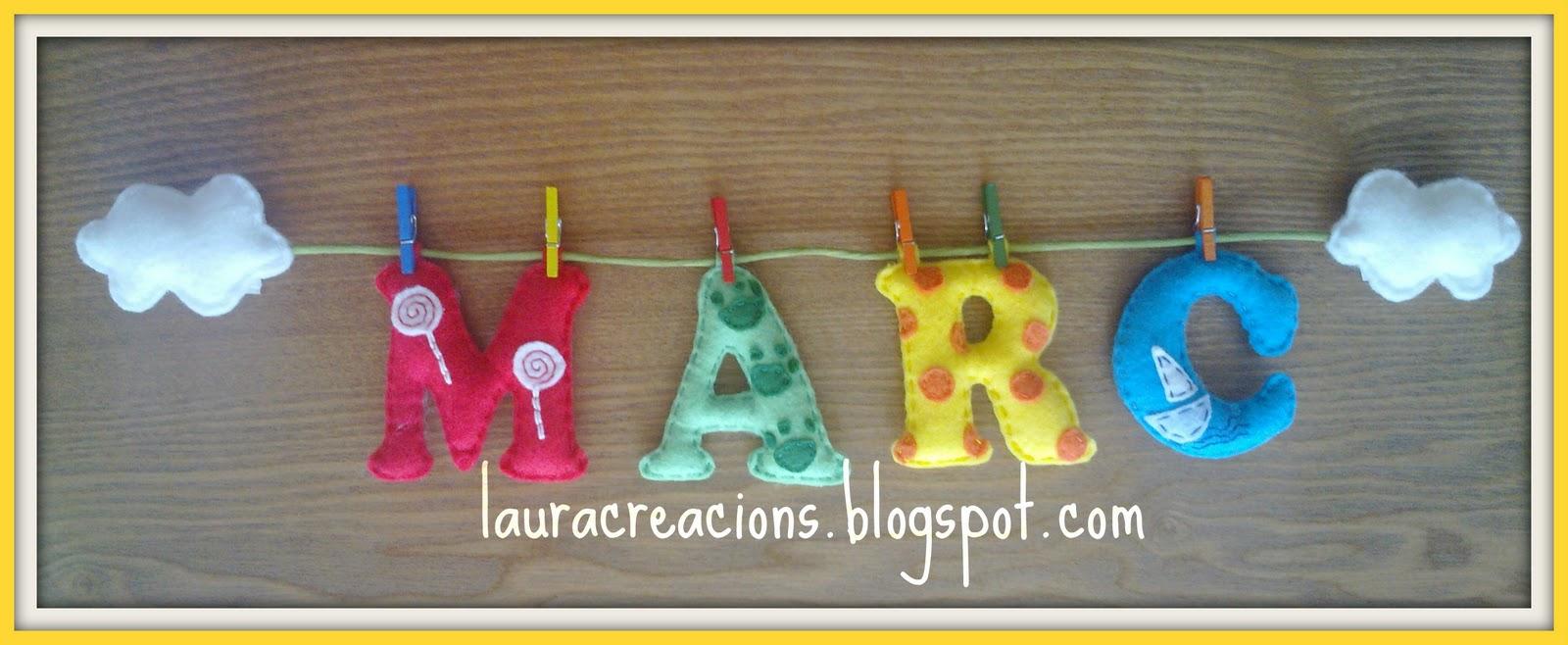Laura creacions nombres en fieltro aitor alma carla - Habitacion rosa palo ...