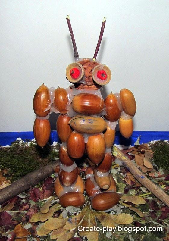 Робот из желудей поделка в школу