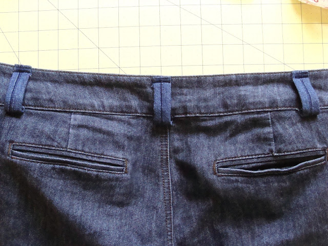 Tutorial on how to add belt loops to pants is complete. Finished DIY belt loops.