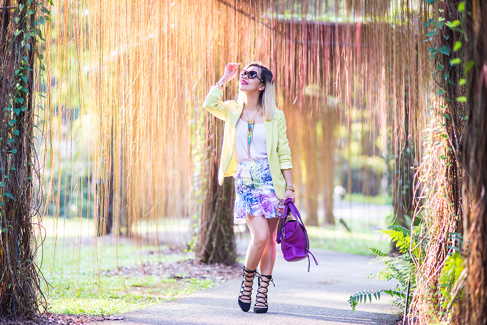 Crystal Phuong- Singapore Fashion Blog- Neon blazer, printed skirt and lace up sandals