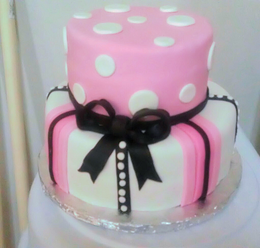 Pink Black White Birthday Cake