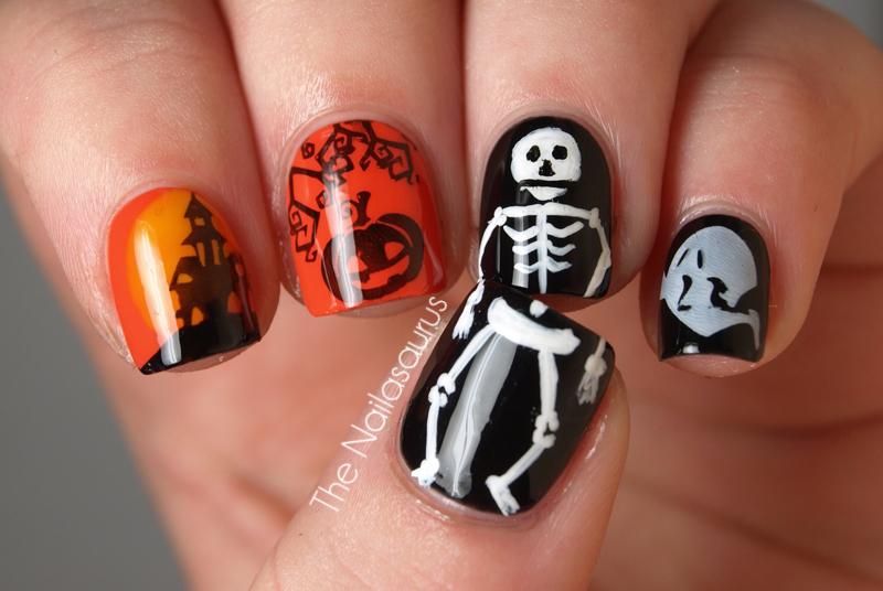 Halloween nail art the nailasaurus uk nail art blog halloween nail art prinsesfo Images