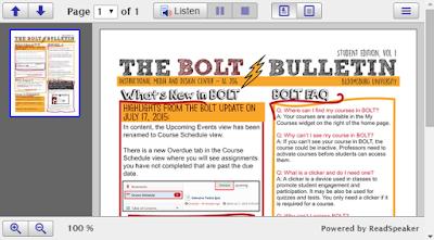 the BOLT Bulletin loaded into the ReadSpeaker docReader