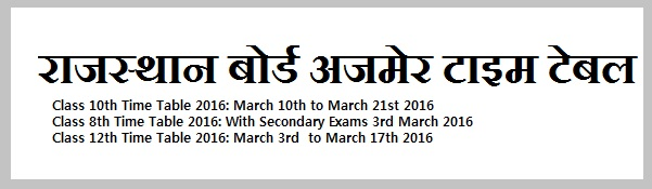Ajmer board rajasthan time table 2016 rbse class 8th for 8th board time table