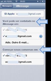 Configuração do Apple iMessage Passo 3