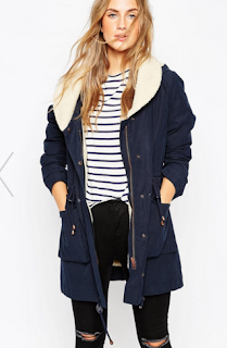 Manteau pas cher Parka bleu marine Asos automne-hiver