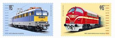 Hungary: LOCOMOTIVES series - Szili and Nohab on stamps - vasutak.eoldal.hu; nohab-gm.hu