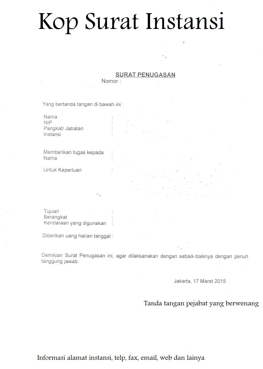 Contoh Format Dan Redaksi Surat Penugasan Pns Murad Maulana