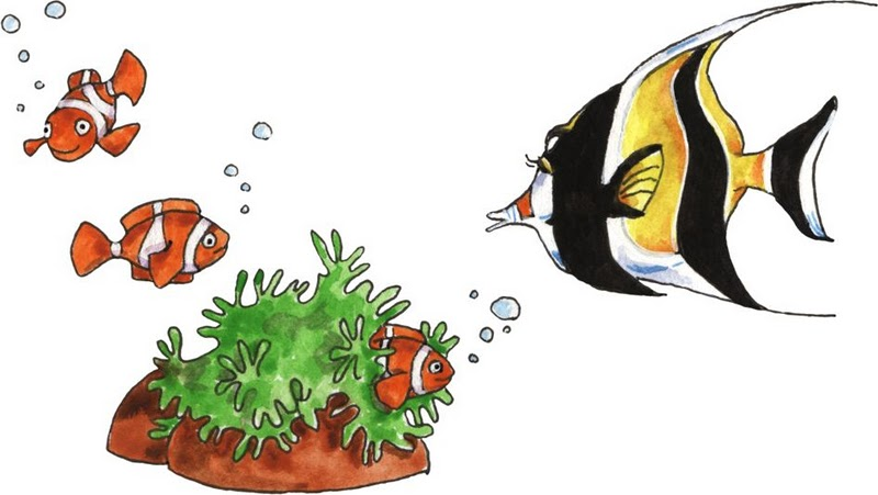 Dibujos peces tropicales para imprimir