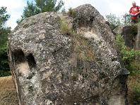 Tombes antropomòrfiques en una roca caiguda de la necròpolis de Cal Pallot