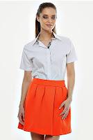 Fusta orange cu pliuri F31 (Ama Fashion)