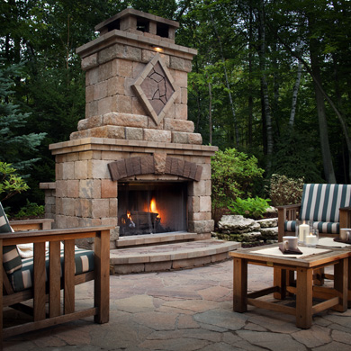 belgard outdoor fireplaces in the new hampshire lakes region