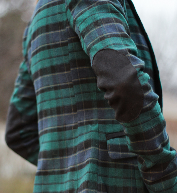 Blue & Green Plaid with Elbow Patches | StyleSidebar