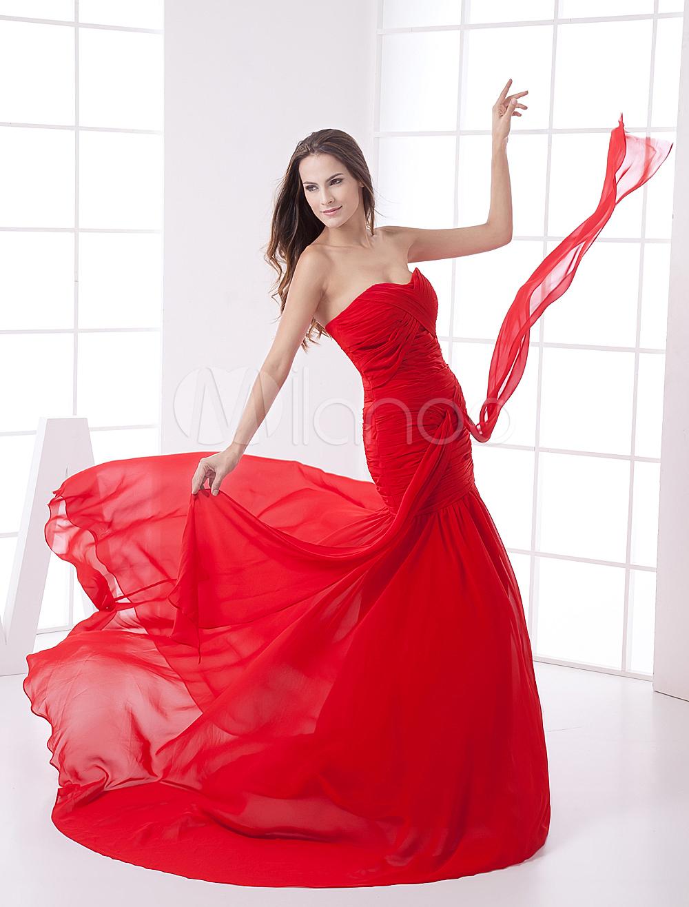 China Wholesale Dresses - Red Chiffon Sweetheart Train Ladies Evening Dress
