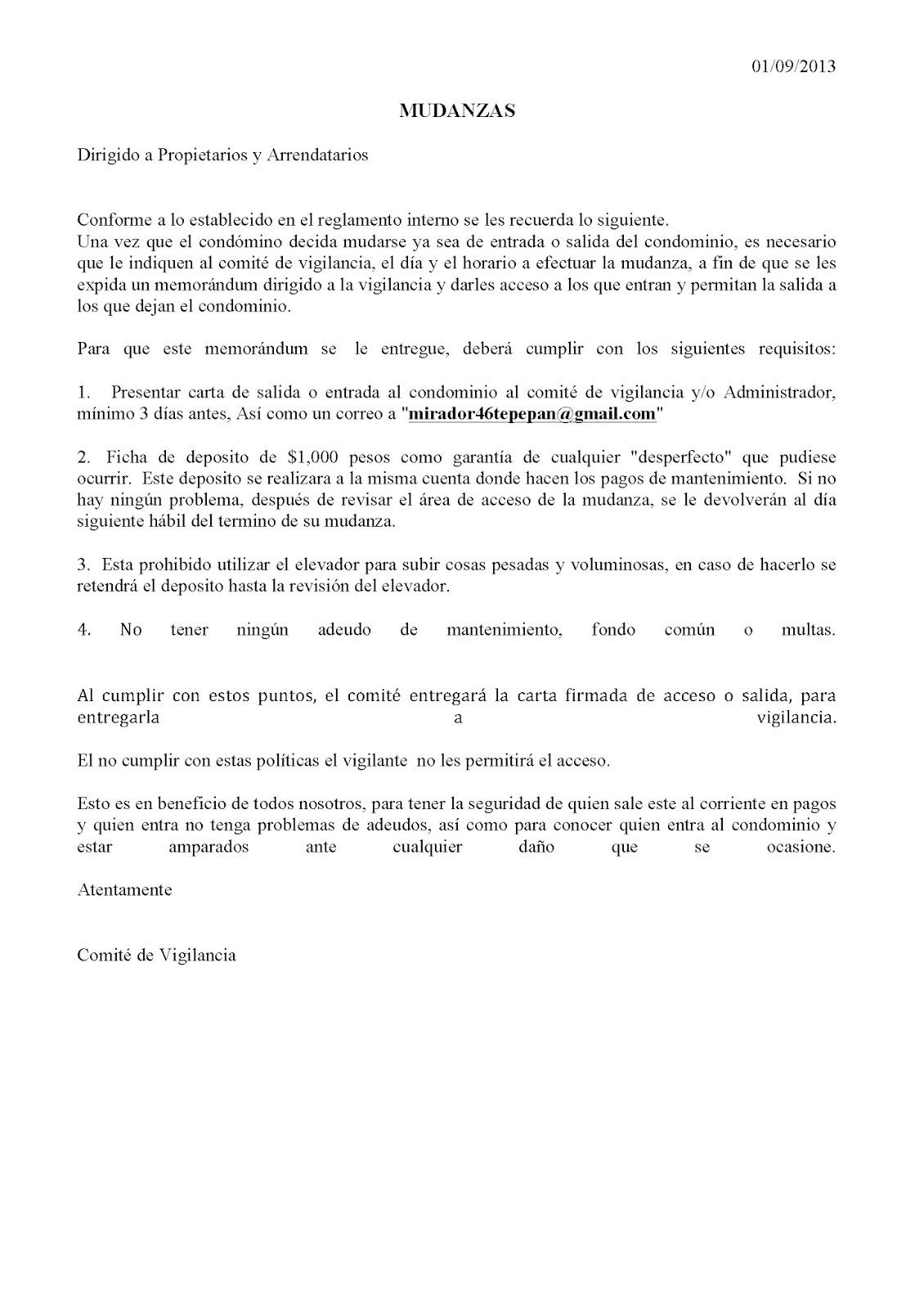 Blog del condominio Mirador 46: septiembre 2013